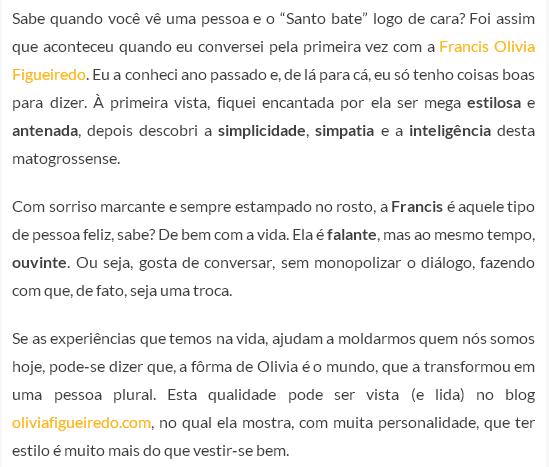 Trechos da matéria no site RaphaelaQueiroz.com
